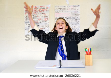 portrait of happy schoolgirl - stock photo