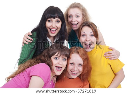 portrait of happy screaming girls over white background - stock photo