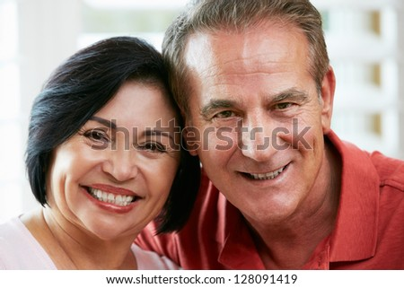 Portrait Of Happy Senior Couple At Home - stock photo