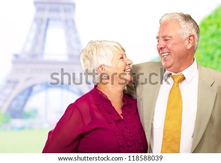 Portrait Of Happy Senior Couple, Outdoors - stock photo