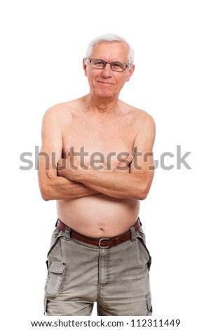 Portrait of happy shirtless senior man, isolated on white background. - stock photo