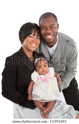 Portrait of Happy Smiling African American Family Isolated on White Background - stock photo