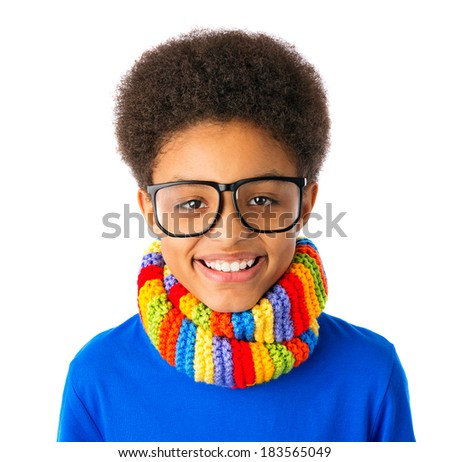 Portrait of Happy smiling African American teenager, school boy with eyeglasses and colorful scarf. Isolated, over white background. - stock photo