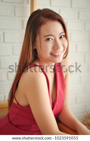 portrait of happy smiling asian woman