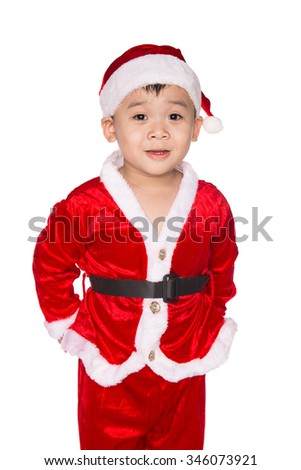 Portrait of happy smiling beautiful little boy in hat of Santa Claus isolated on white background