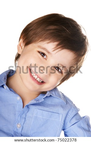 Portrait of happy smiling beautiful little boy isolated on white background - stock photo