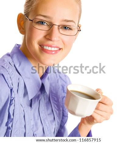 Portrait of happy smiling business woman drinking coffee, isolated over white background - stock photo