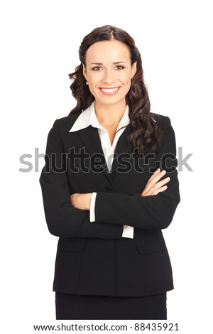 Portrait of happy smiling business woman, isolated on white background