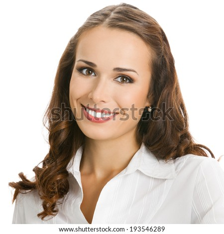 Portrait of happy smiling business woman, isolated over white background - stock photo