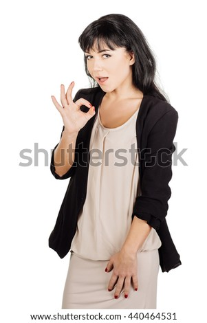 Portrait of happy smiling business woman showing OK hand sign. image on a white studio background. business, emotion people concept. - stock photo