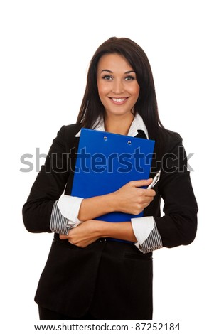 Portrait of happy smiling business woman with blue folder, isolated on white background - stock photo