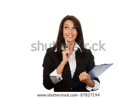 Portrait of happy smiling business woman with blue folder look up thinking, isolated on white background - stock photo