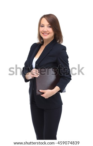 Portrait of happy smiling business woman with brown folder