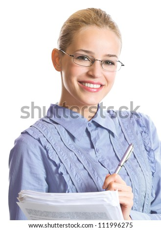 Portrait of happy smiling business woman with documents, isolated over white background - stock photo