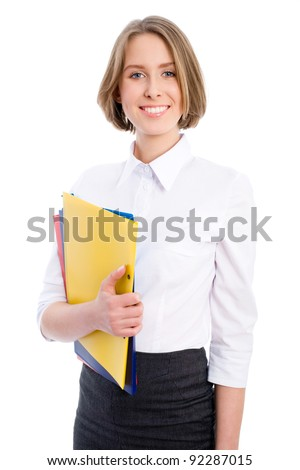 Portrait of happy smiling business woman with folders