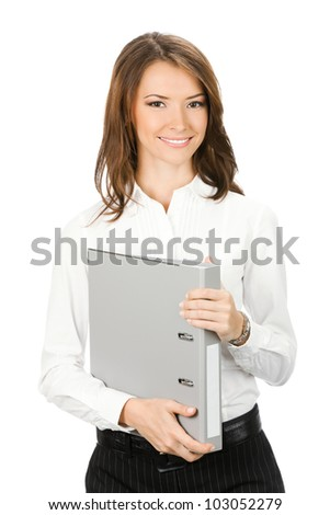 Portrait of happy smiling business woman with grey folder, isolated over white background