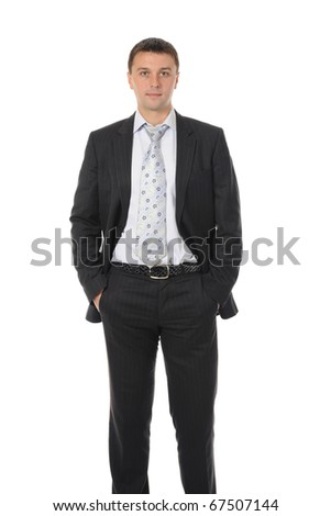 Portrait of happy smiling businessman in a business suit. Isolated on white background - stock photo