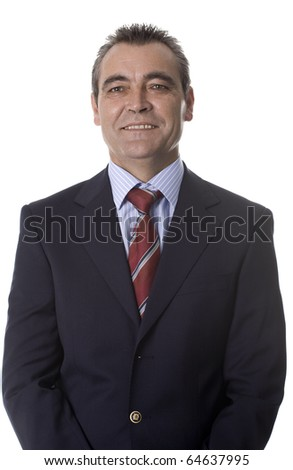 Portrait of happy smiling businessman, isolated on white