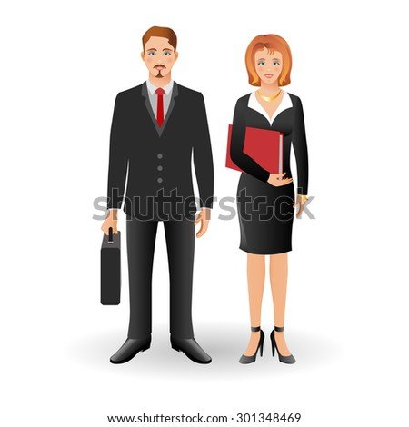 Portrait of happy smiling businessman or young man standing and holding briefcase with happy smiling business woman wearing a suit, smiling, standing and holding folder. Realistic image.