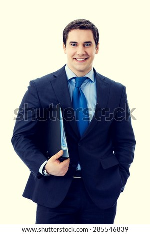 Portrait of happy smiling businessman with black folder - stock photo