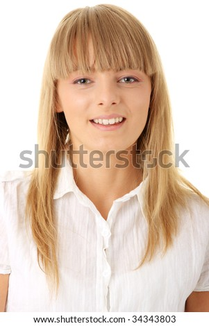 Portrait of happy smiling businesswoman  isolated on white background - stock photo