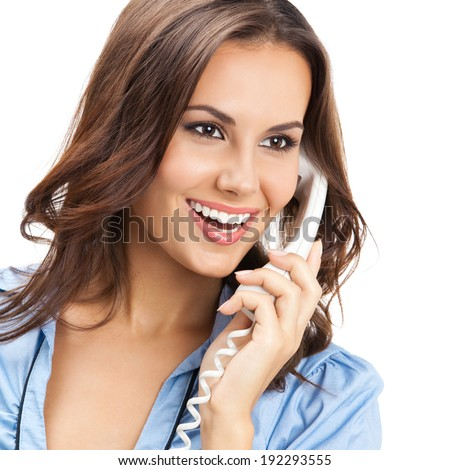 Portrait of happy smiling cheerful beautiful young business woman or support phone worker, isolated over white background
