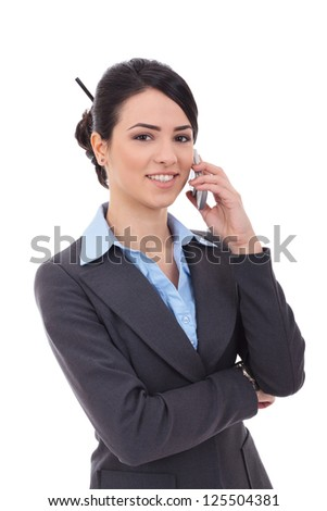 Portrait of happy smiling cheerful beautiful young businesswoman with phone, isolated over white background - stock photo