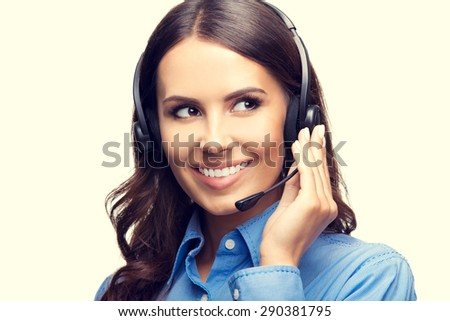 Portrait of happy smiling cheerful customer support phone operator. Customer assistance service concept. - stock photo