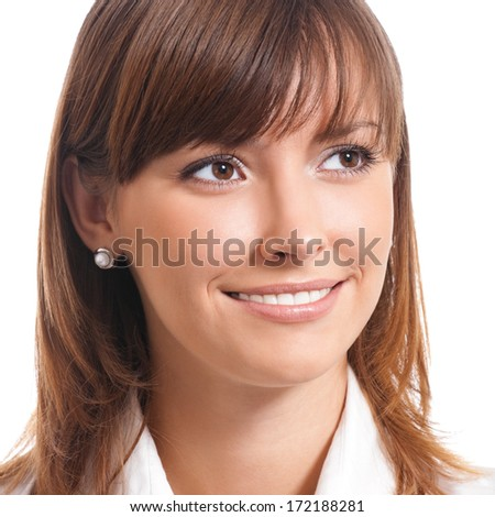 Portrait of happy smiling cheerful young business woman, isolated over white background