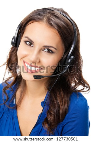 Portrait of happy smiling cheerful young support phone operator in headset, isolated on white background - stock photo