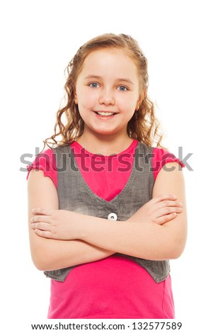 Portrait of happy, smiling, confident 9 years old girl with curly hair, isolated on white - stock photo