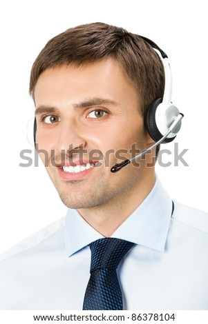 Portrait of happy smiling customer support phone operator in headset, isolated over white background - stock photo