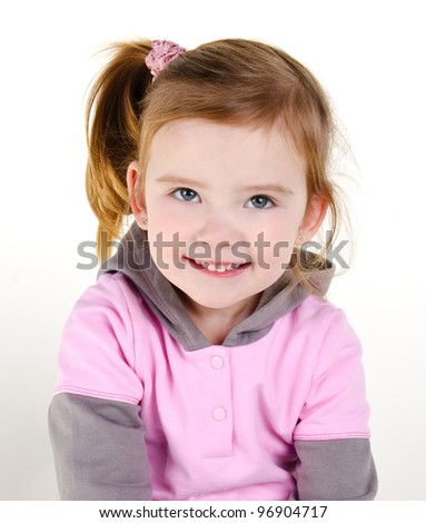Portrait of happy smiling little girl on a white - stock photo