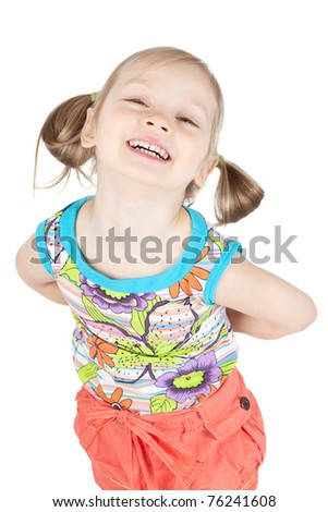 Portrait of happy smiling little girl on white background in studio - stock photo