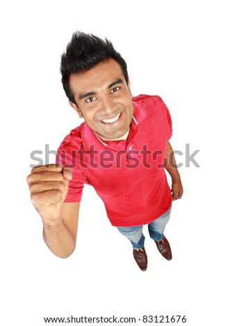 Portrait of happy smiling man, isolated on white background - stock photo