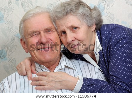 portrait of happy smiling old couple