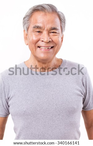 portrait of happy, smiling, positive senior asian man - stock photo