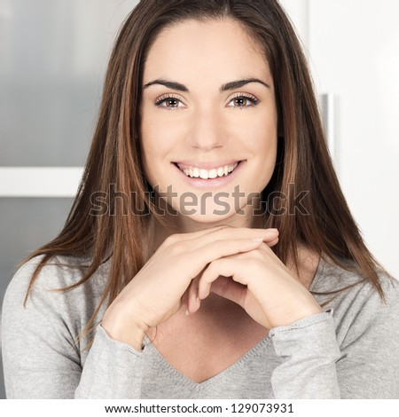 Portrait of happy smiling woman - stock photo