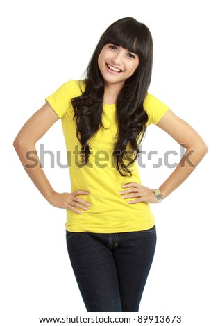 Portrait of happy smiling woman dressed in a casual clothes , Isolated on white background - stock photo