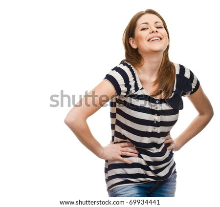 Portrait of happy smiling woman dressed in a striped blouse isolated over white background. Caucasian Anerican girl
