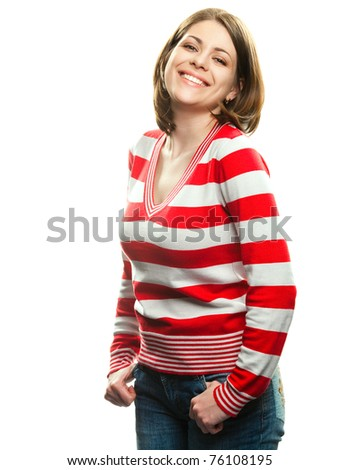 Portrait of happy smiling woman , Isolated on white background - stock photo