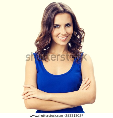 Portrait of happy smiling young beautiful woman - stock photo