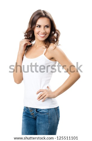 Portrait of happy smiling young beautiful woman, isolated over white background - stock photo