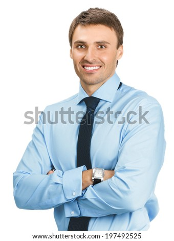 Portrait of happy smiling young business man, isolated over white background - stock photo