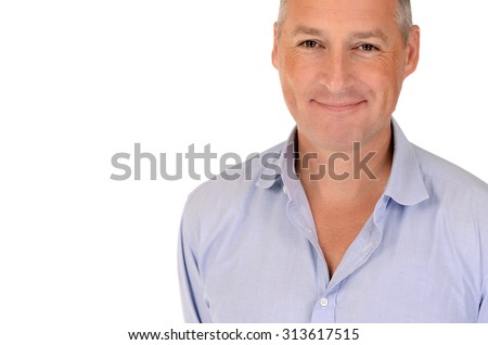Portrait of happy smiling young business man, over white background - stock photo