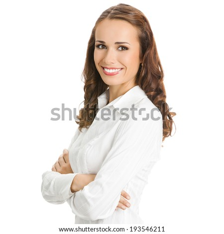 Portrait of happy smiling young business woman, isolated on white background - stock photo