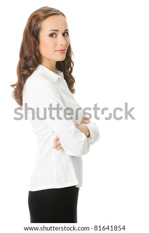 Portrait of happy smiling young business woman, isolated on white background