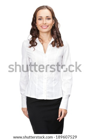 Portrait of happy smiling young business woman, isolated over white background - stock photo