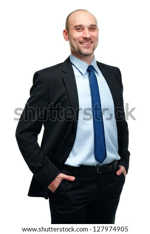 Portrait of happy smiling young businessman, isolated over white background - stock photo