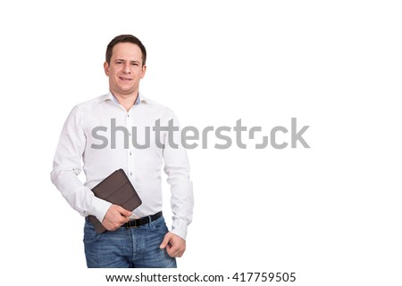 Portrait of happy smiling young businessman with brown folder in his hand, isolated on white background.